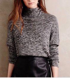 Women's Anthropologie Moth Annona Marled Turtleneck Sweater Black White S-M #Anthropologie #Cardigan #Casual