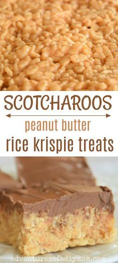O'HENRY BARS (SCOTCHAROOS) RECIPE Scotcharoos are the most delicious peanut butter treat made with rice krispies and topped with a butterscotch chocolate. Peanut Butter Rice Krispies, Peanut Butter Squares, Healthy Peanut Butter, Healthy Food, Recipes With Peanut Butter, Peanut Butter Desserts, Peanut Butter Bars, Rice Krispy Treats Recipe, Rice Crispy Treats