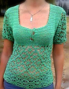 Crocheted short-sleeve top  Made to Order