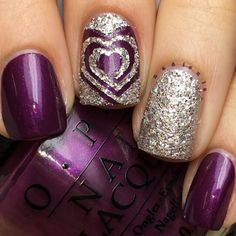 Awesome Purple Nails with Glitter Accent. http://www.skullclothing.net: