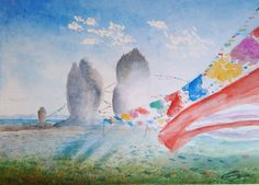 Nam Tsao lake, Tibet   Watercolor on paper