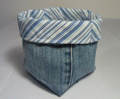 Grab an old shirt and a pre-loved pair of jeans to make a FABRIC BASKET ~ Threading My Way