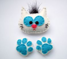 Felted fridge magnet cat white cat cat footprint by IrraNellie, $15.00