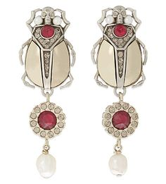 ALEXANDER MCQUEEN Beetle stone earrings