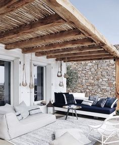 Lazy outdoor back porch, rustic beam and rock wall envy. Image via The post Lazy outdoor back porch, rustic beam and rock wall envy. Image via appeared first on BlinkBox. Outdoor Decor, Wellness Design, Home, Outdoor Space, Outdoor Living, Exterior Design, Mediterranean Decor, Home Interior Design, Outdoor Design