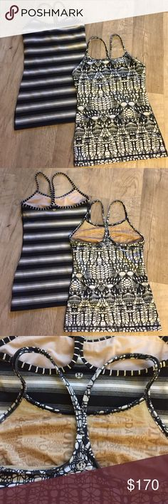 Lululemon Athletica Bundle Two size 4 Power Y tops. Built in bra. Black and white prints. XS-S. lululemon athletica Tops Tank Tops