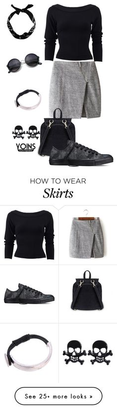 """""""Gray wrap skirt with asymmetric zip"""" by zana-k on Polyvore featuring Donna Karan, Converse, women's clothing, women's fashion, women, female, woman, misses and juniors"""