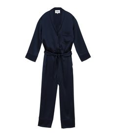Perfectly put together but relaxed describes the Yuma jumpsuit in full form. Tailored from silky satin with a vivacious navy tone with matching satin button detailing, it accentuates ladylike curves and promotes a more put together look. Navy Jumpsuit, Satin Jumpsuit, Model, Curves, How To Wear, Sporty, Button, Fashion, Moda