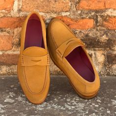 Material: Shoe Upper Suede Use Shoe Lining Soft leather Shoe Sole genuine Leather Awesome Looking Loafer Design Heel Genuine leather All hand stitch Satisfaction is Guaranteed SHIPPING TERMS : Mens Tan Loafers, Loafers For Women, Women's Loafers, Calf Leather, Leather Shoes, Soft Leather, Red Leather, Custom Boots, Custom Design Shoes