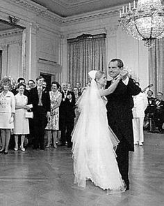 After waltzing with her groom, Tricia Nixon joined her father on the White House dance floor. - National Archive/Newsmakers