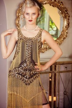 1920s Style Dresses 1920s Flapper Fringe Gatsby Party Dress - The Roxy - Gold on Jet Black $399.95 AT vintagedancer.com