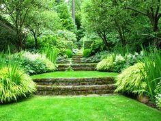 BestTerraced Front Yard Ideas and Design 31 - Awesome Indoor & Outdoor Garden Stairs, Terrace Garden, Green Terrace, Lush Garden, Garden Paths, Hillside Landscaping, Front Yard Landscaping, Landscaping Ideas, Terraced Backyard