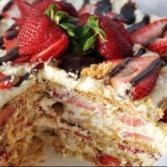 No-Bake Strawberry Icebox Cake serves 8  2 pounds fresh strawberries, washed 3 1/4 cups whipping cream, divided 1/3 cup confectioners sugar 1 teaspoon vanilla 1/2 teaspoon rosewater (optional)  4 sleeves (about 19 ounces, or 24 to 28 whole crackers) graham crackers 2 ounces dark chocolate, finely chopped  Take out a few of the best-looking strawberries and set them aside for the garnish. Hull the remainder of the strawberries and slice each berry into thin slices.  With a hand mixer or in…