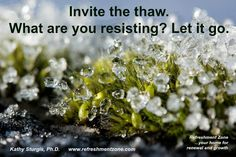 Spring is coming. New growth is inevitable. What are you resisting? Let it thaw. Let is go. Allow the spring ~ it's right around the corner. Supporting your success....Kathy www.refreshmentzone.com