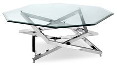Lenox Square Modern Chrome Metal and Glass Coffee Table (Lenox Square Octagonal Cocktail Table), Clear, Magnussen Home Furnishings Small Furniture, Furniture Deals, Metal Furniture, Living Room Furniture, Furniture Design, Furniture Buyers, Cat Furniture, Furniture Layout, Antique Furniture
