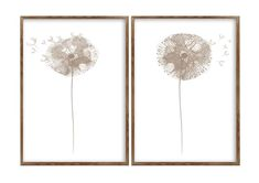 Dandelion Minimalist Painting Taupe Wall Decor Abstract | Etsy