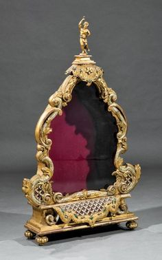 Continental Baroque-Style Carved Giltwood Table Top Vitrine, c. on Jul 2016 Baroque Art, Baroque Fashion, Auction, Clock, Carving, Bookcases, Table, Display Cases, Watch