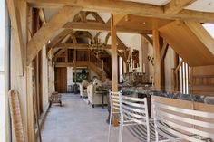 Open plan oak framed barn kitchen