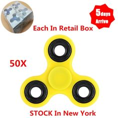 Other Wholesale Sporting Goods 26423: Wholesale 50Pcs Tri Hand Spinner Fidget Toy 608Rs Bearing Retail Box Yellow -> BUY IT NOW ONLY: $77.68 on eBay!