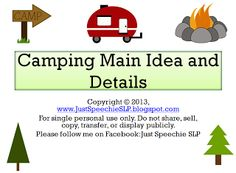 SALE! 20% OFF my TPT store until Wed. May 22nd for BHSM!!! New Camping Main Idea and Details Game, too :-)