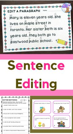 Students learn how to edit sentences and short paragraphs using this resource for 1st & 2nd grade.  It comes with posters, worksheets, task cards, and a paragraph editing booklet. It deals with editing for proper punctuation and capital letters.