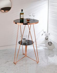 Acme Jarvis Bar Table in Black Glass and Rose Gold Acme Furniture, Dining Furniture, Furniture Online, Metal Furniture, Furniture Design, Round Shelf, Gold Rooms, Pub Table Sets, Rose Gold