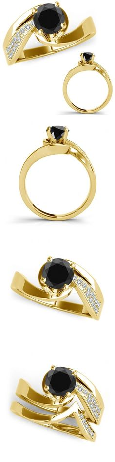 Other Engagement Rings 164308: 1.15 Ct Black Diamond Bypass Solitaire Marriage Ladies Ring Band 14K Yellow Gold -> BUY IT NOW ONLY: $889.35 on eBay!