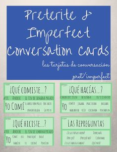 Get your kids talking Spanish and help them overcome their fears of speaking (especially in the past tense). Use these preterite & imperfect conversation cards to help students ask questions and give hints to their classmates if they are needing help! Spanish Help, Spanish Practice, Learn To Speak Spanish, Spanish Phrases, Spanish Posters, Ap Spanish, Spanish Vocabulary, Spanish Teaching Resources, Spanish Activities