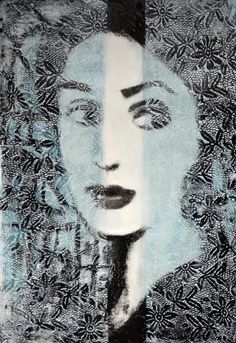 """Limited edition carborundum collagraph """"Between You & Me VIII"""" by contemporary British printmaker Corinna Button. Collagraph, Borders For Paper, Illustration Art, Illustrations, Printmaking, You And I, Mona Lisa, Button, Prints"""