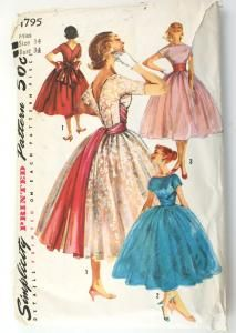 Simplicity 1795 Vintage 1950s Prom Dress Pattern Bust 34 Wrapped Cummerbund Sewing Pattern