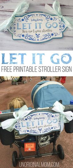 Free printable Frozen stroller sign to use at Disney