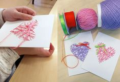 Latest Trend in Paper Embroidery - Craft & Patterns Paper Embroidery, Embroidery Stitches, Embroidery Patterns, Simple Lines, Craft Patterns, Valentines, Scrapbook, Fabric, Crafts
