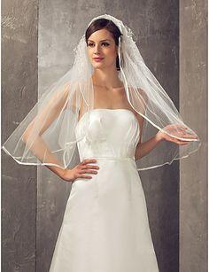 Two-tier Elbow Wedding Veil With Ribbon Edge - USD $ 19.99