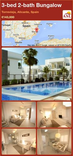 3-bed 2-bath Bungalow in Torrevieja, Alicante, Spain ►€143,000 #PropertyForSaleInSpain