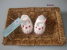 Hand Knitted Baby Girl Mary Jane Style Cotton by AniramCreates, £8.99