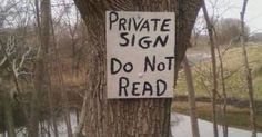 Private Sign - Do Not Read