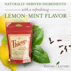 Always keep the power of Thieves® oil blend with you—even on the go! Young Living's Thieves Lozenges, made with Thieves essential oil blend, offer a convenient and portable way to enjoy this favorite dietary supplement. Thieves Essential Oil, Lemon Essential Oils, Natural Essential Oils, Essential Oil Blends, Natural Oils, Natural Health, Natural Products, Young Living Oils, Young Living Essential Oils