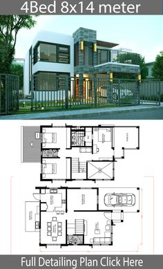 Home Design Plan with 4 Bedrooms - Home Design with Plansearch Sims House Plans, Two Story House Plans, House Layout Plans, Dream House Plans, House Layouts, House Floor Plans, 2 Storey House Design, Duplex House Plans, Simple House Design