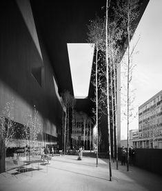 Barozzi  Veiga . Library of Contemporary International Documentation . Nanterre (3) visualisatie zwart wit grijstinten patio ruimte collectief bomen ommuurd maquette