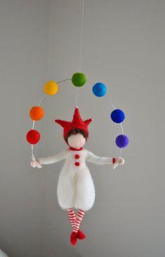 Items similar to boys room decoration rainbow felted mobile, nursery, home decor, gift: harlequin on Etsy - Kinderzimmer Wool Dolls, Felt Dolls, Felt Crafts, Diy And Crafts, Arts And Crafts, Wet Felting, Needle Felting, Diy Y Manualidades, Felt Fairy