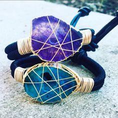 Bracelets By Vila Veloni Handma de Leather Macrame Agatha Purple And Turquoise