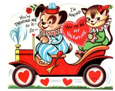 Valentine Card - Vintage Children's Dog & Cat with Car 1960's