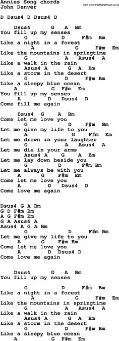 Rock and pop song lyrics with chords for Annie's Song - John Denver Pop Song Lyrics, Guitar Chords And Lyrics, Guitar Sheet Music, Guitar Tabs, Guitar Songs, Pop Songs, Ukulele, Music Songs, John Denver Annie's Song