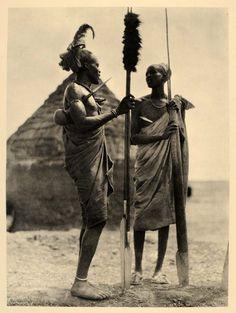 1930 Africa Shilluk Men Costume Sudan Hugo Bernatzik - ORIGINAL PHOTOGRAVURE AF2