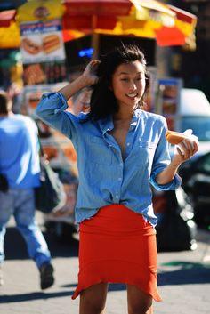 Margaret Zhang in Bec&Bridge – love both shirt and skirt