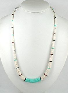 Summer is here and time for turquoise and white heishi