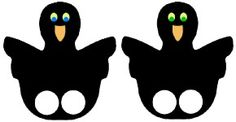 Raven Finger Puppet - can be modified for to be used with other birds.