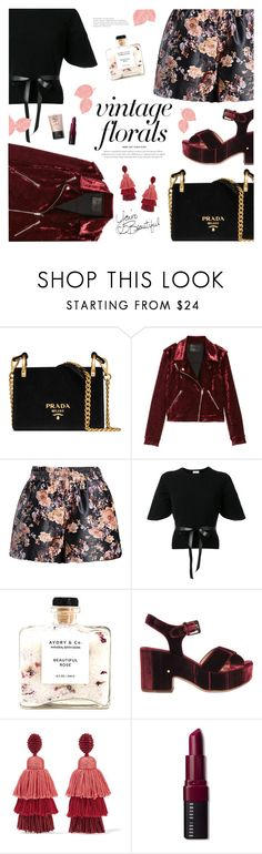 """Smell the Roses: Vintage Florals"" by catchsomeraes ❤ liked on Polyvore featuring Prada, BLANKNYC, RED Valentino, Laurence Dacade, Oscar de la Renta, Bobbi Brown Cosmetics, vintage, velvet and vintageflorals"