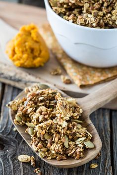 Pumpkin Spice Granola...made with whole grains, pumpkin puree, maple syrup, vanilla and warm spices...sounds like a yummy Autumn treat!