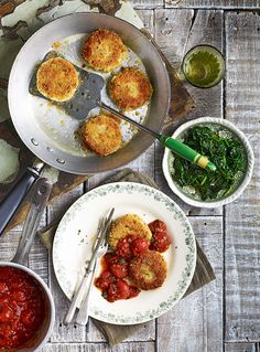 Italian for 'meatball', this polpettine recipe can be altered to use up cans of cannellini beans in your cupboard. Omit the pancetta Cherry Tomato Sauce, Tomato Sauce Recipe, Cherry Tomatoes, Food Processor Uses, Food Processor Recipes, Appetizer Recipes, Dinner Recipes, Dinner Ideas, Steamed Spinach